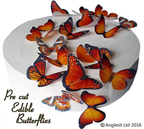 schöne orange Schmetterlinge essbares Reispapier/Oblatenpapier Kuchendekoration, Dekoration für Cupcake Kuchen Dessert, für Geburtstag Party Hochzeit Babyparty Halloween Ostern (M) ()