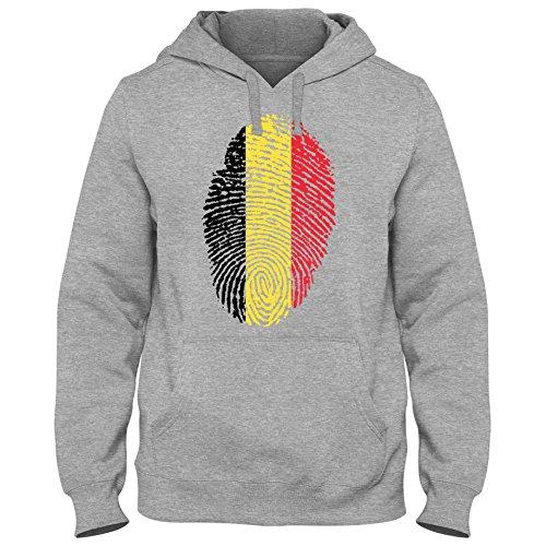 Shirtastic Hoody Hoodie Kapuzenpulli Belgien Belgium Fußball Trikot Fingerabdruck WM Em, Farbe:Grau;Größe:XXL (Fußball-trikot Russell)