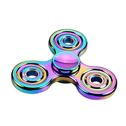 Anself EDC Tri Fidget Mano Spinner Fuoco ADHD Autismo Finger Toy Giocattolo Escursioni Pocket Colorato in Lega di Zinco