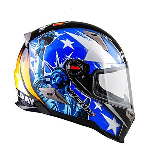 Betrothales Casco Moto Flip-Up Casco Moto Jethelm Uomini E Donne Quattro Stagioni Moto Anti-Fog Casco Integrale Racing Certificazione Cec Blu M Saldi (Color : Colour-2XL)