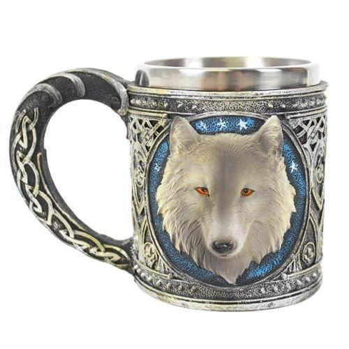 Schöne Gothic Pagan Wicca Halloween 3D Wolf Kopf Bierkrug Tasse
