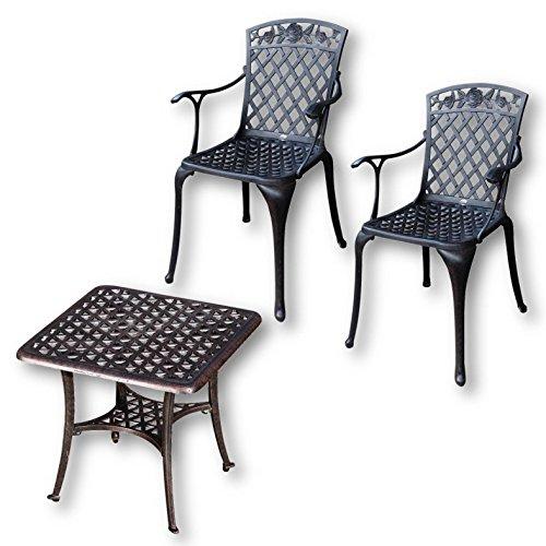 Lazy Susan - Sandra Quadratischer Kaffeetisch mit 2 Rose Stühlen - Gartenmöbel Set aus Metall, Antik Bronze - Bronze Gartenmöbel