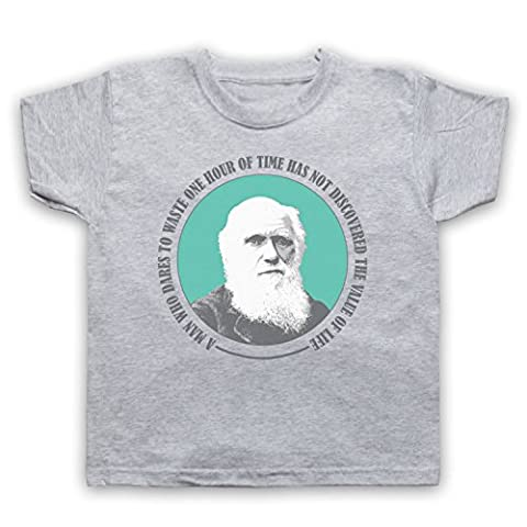 Charles Darwin Value Of Life T-Shirt de L'Enfant, Gris, 5-6 Years