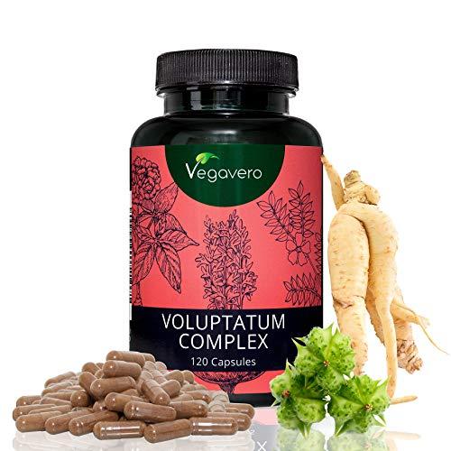 Voluptatum Complex Vegavero | Maca - Tribulus Terrestris - Red Panax Ginseng | 120 hochdosierte Kapseln | Hochwertige Extrakte | Nur 1 Kapsel pro Tag