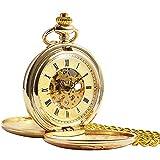 ManChDa Vintage Champagne Oro Reloj de Bolsillo para los Hombres Mujeres Cazador de Doble Grabado Esqueleto Movimiento mecánico de Oro Números Romanos con Cadena + Caja Regalo