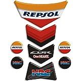 Motoking tanque pad compatible ETIQUETAS 3D-ETIQUETA '' Llamas Repsol Honda CBR 13x19,3''- tanque de la motocicleta y la protección de la pintura universal