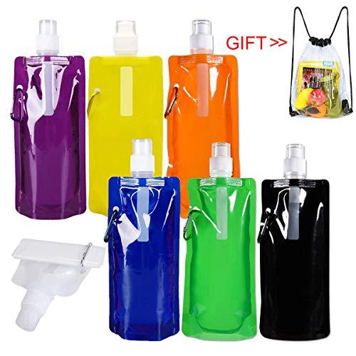 Tasche Falten (Airrioal Faltbare Wasserflasche Trinkbeutel,7 Stück Wiederverwendbare tragbare Falten Wasser Tasche für Outdoor-Sportarten Reiten Wandern, 7 Farben(480 ml))
