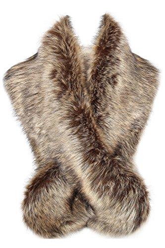 Pelz Schal Flauschig Faux Pelz Umschlagtuch Kragen für Wintermantel 1920er Jahre Flapper Accessoires Outfit Warm Zubehör 120 cm lang (Waschbär) ()
