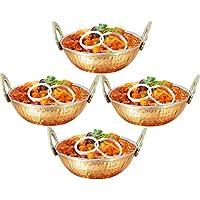 Cuencos de acero inoxidable de cobre de 500 ml utilizados como tazón de cereal, bol de arroz, cuenco de fideos, tazón de helado, conjunto de 4, estilo martillado, 15 cm