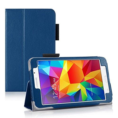 Tablet-fall Galaxy S5 (Invero® Premium Hülle Ledertasche umfasst Ständer Feature, Displayschutzfolie und Eingabestift Kugelschreiber für Samsung Galaxy Tab 4 7,0 Zoll SM T230 T231 (Blau / Blue))