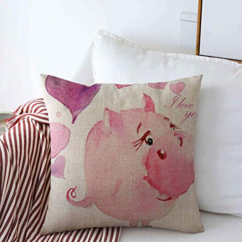 Fodere per cuscino Pillow Case Ball Pink Artist Watercolor Childrens Album Purple Pretty Artistic Baby Beast Book Design Heart Farmhouse Decorative Throw Pillows Covers 18'x18' for Winter Decorations