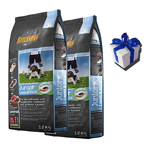 2 x 15 kg Belcando Junior Lamm & Reis Hundefutter für Junghunde + Geschenk (Geschenk Junior)