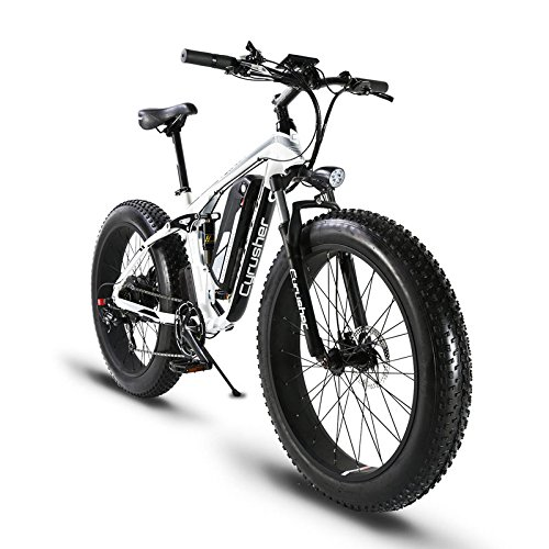 Extrbici XF800 1000W 48V 13AH Electric Bike 26' Aluminum Alloy Frame Full Suspension Fat Bike Cruiser 7 Speeds Shimano Shift System Up to 31mph eBike 5 Setting Smart Computer Oil Hydraulic Power Off Disc Brake (White)