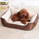 Letto per animali da compagnia per piccoli cani medi e grandi Cotone a quattro stagioni Size XXS-XL (Marrone, L: 80 * 60 * 15cm)