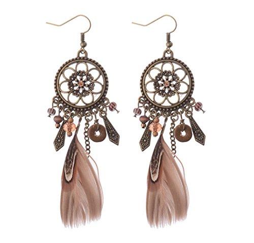 Jovono Feder-Ohrringe, Traumfänger-Ohrringe für Frauen und ()