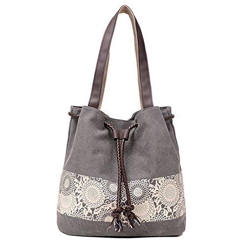 Damen Segeltuch Handtasche / Schultertasche / Retro Schultertasche - Blumenmuster (Grau)