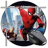 Spider-Man Homecoming Spiderman Tom Holland Iron Man Robert Downey Jr Tapis ronde Round Mousepad PC