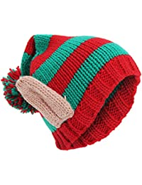 Universal Textiles Adults Unisex Knitted Christmas Design Winter Bobble Hat With 3D Ears