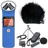 Enregistreur portable ZOOM H1BL Bleu + Set d'accessoires APH-1+ keepdrum Protection anti-vent