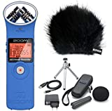 Zoom H1 BL Handy Recorder Blau + APH-1 Zubehörset + KEEPDRUM Fell-Windschutz