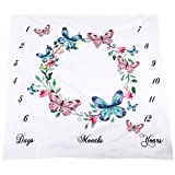 SUPVOX Baby Monthly Milestone Growing Blanket Newborn Infants Photo Blanket DIY Photography Background Props Backdrop Best Kids Baby Shower Gift (Butterfly)
