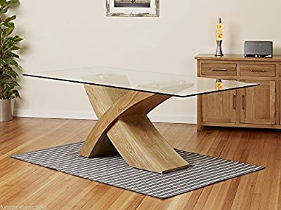 MILANO X OAK Wood Veneer Glass Dining Table Set 6 Chairs Seater