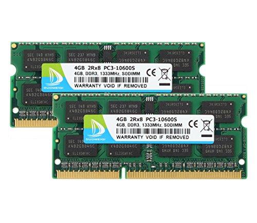 Duomeiqi 8 GB (2 x 4 GB) DDR3-RAM-Speicher für Notebooks, 2Rx8 PC3-10600S, 1333 MHz, SODIMM, CL9, 204 Pin, 1,5 V, Non-ECC, ungepuffert, kompatibel mit Intel, AMD und Mac