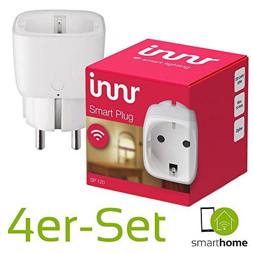 Innr Smart Plug on/off   4 x intelligente Smart-Home Steckdose   Funktioniert mit PHILIPS HUE*, OSRAM LIGHTIFY und innr-Fernbedienung   Zigbee-zertifiziert SP120   App-Steuerung