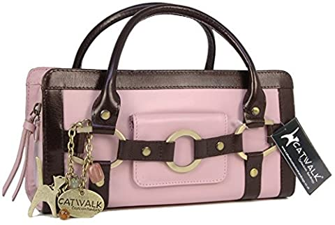 Catwalk Collection Leather Grab Bag - Milan - Pink and Brown