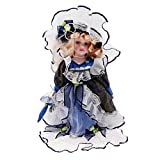 sgerste mehrere Puppenhaus Miniatur Porzellan Puppe Victorian Lady mit Hut & Ständer Blau & Weiß