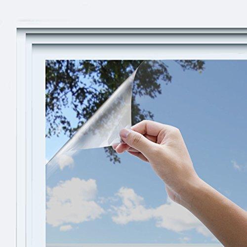 Rhodesy Spiegelfolie Sonnenschutzfolie Selbstklebende, Anti UV Hitzesteuerung Sun Blocker, Privacy Schutz Glas Dekorative Folie für Home und Office Windows, 44.5x200 cm, Splitter