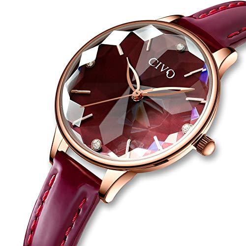 CIVO Damen Uhren Wasserdicht Silm Minimalistisch Rose Gold Damenuhr mit Edelstahl Mesh Armband Mode Kleid Elegant Luxus Beiläufig Quarzuhr für Frau Lady Teenager Mädchen (Rotwein)