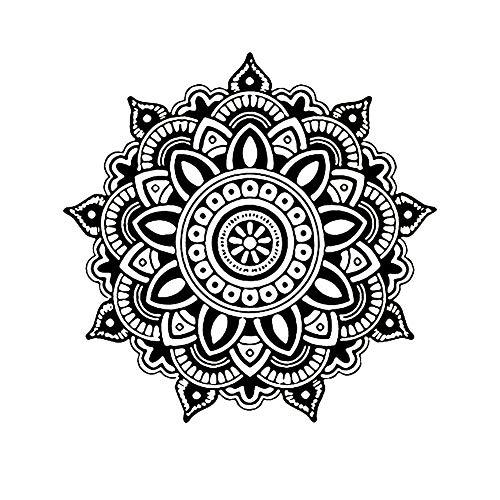 iTemer. 1 Unidades decoración del hogar Etiqueta de Vinilo Mandala patrón de Flores decoración de la Etiqueta engomada Dormitorio Sala de Estar decoración de la Pared Etiqueta Negro L