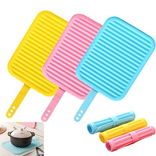 INCHANT 3 Set multi-usage en silicone Manique, antidérapante Cuisine Thermiquement Tapis de sol imperméable durable Trivet flexible Mat, Micro-ondes et lave-vaisselle