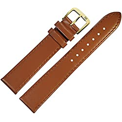 18mm Brown Leather Watch Strap, MARBURGER to Fine Genuine Leather Watch Strap With A Very Discreet Bombage Suits Flat Watch-MARBURGER Since 1945Watch Straps-Light Brown/Gold