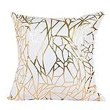 Zuhause Dekoration Kissen Fall Hirolan Gold Folie Drucken Sofa Taille Werfen Kissen Abdeckung (45cmX45cm, C)