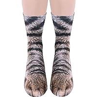 calcetines perro 3d, Sannysis calcetines de algodón calcetines térmicos Adulto Unisex botas media caña mujer calcetines yoga antideslizantes mujer talla grande suave elásticos - Animal Paw (Multicolor i)