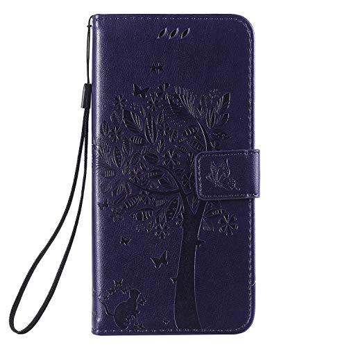 Miagon für Huawei Mate 20 Geldbörse Wallet Case,PU Leder Baum Katze Schmetterling Flip Cover Klapphülle Tasche Schutzhülle mit Magnet Handschlaufe Strap