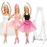 Miunana 10 Accessori per 11.5 Pollici 28 -30 CM Bambola: 3 Abiti Vestiti da Ballerina (Rosa + Bianco + Viola Nero) + 3 PCS Scarpe da Ballerina + 3 Corone di Principessa + Specchio Bianco