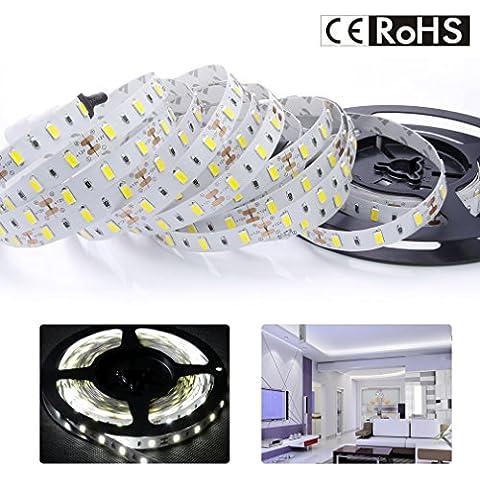 AuraLum® Striscia led 5M SMD 5630 300 LEDs lampada 12V 10000LM per decora / barca,livello IP20 impermeabile,colore bianco