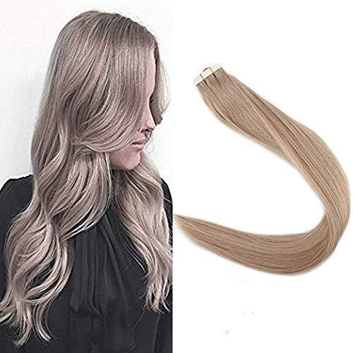 Full Shine 16 Zoll Tape in Extensions Volltonfarbband auf dem Haar 40 Stck. 100 Gramm 100% Remy Brasilianisches Menschenhaarverlängerung Aschblondes # 18 Hautschußband in Haarverlängerungen