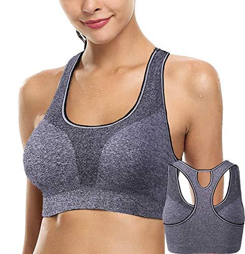 ANGOOL Damen Sport BH Gepolstert Komfort Ohne Bügel Atmungsaktiv Yoga BH (Schwarz, L Fit 80D 80DD 80E 85D 90B 90C)