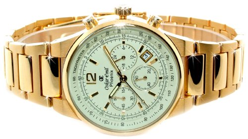 Oskar Emil Gents Phoenix 23K Gold Chronograph Sports Watch with Cream Dial
