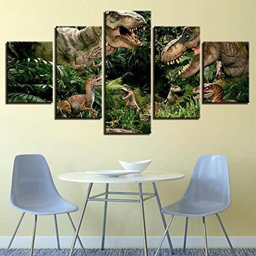JSBVM 5 Panel HD-Drucke Jurassic Park-Dinosaurier Bilder Poster Dekorativ Gemälde für Wohnzimmer Wand Dekoration,A,20×35×2+20×45×2+20×55×1
