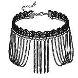 Blisfille Velvet Spitze Choker Halskette Damen Schwarz Welle Kette Quaste Tattoo Kette Länge 32.5+7.7cm Einstellbar Halsketten Retro