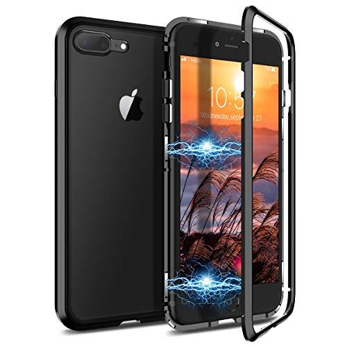 CE-Link Kompatibel mit iPhone 7 Plus Hülle iPhone 8 Plus Hülle Glas mit Magnetisch Panzerglas Durchsichtig Handyhülle Transparent Hard Case Ultra Slim Dünn 360 Grad Full Body - Schwarz