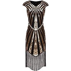 FAIRY COUPLE 1920s Gatsby Vestido con Lentejuelas y Borlas con Borlas y Dobladillo D20S017(XL,Oro Negro)