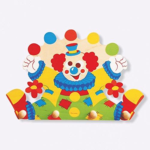 Dida - attaccapanni clown in legno, per arredare la cameretta dei bambini.