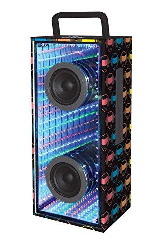 iParty BTL600 Bluetooth Lautsprecher mit Beleuchtung, Schwarz Mit Bunde I-Party Logos, 12.7 x 15.5 x 40 cm -