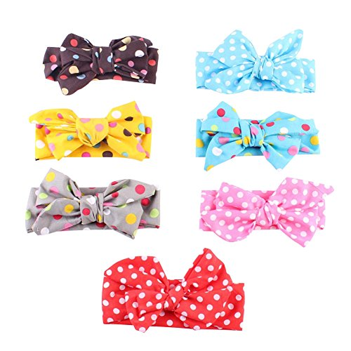 Demiawaking 7Pcs Cute Baby Girl Headbands Lovely Kids Dot Print Headwrap Big Bowknot Headwear Decor